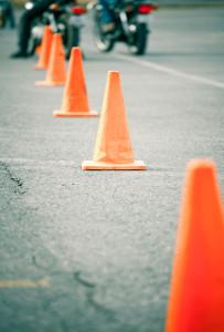 Riding around cones