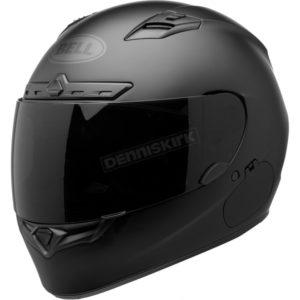 Black full face motorcycle helmet